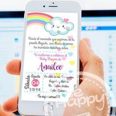 Be happy: Tarjeta de invitación digital Digital Invitations, Printable Invitations, Invitation Cards, Rain Baby Showers, Baby Boy Shower, Rainbow Dash Birthday, Cloud Party, Baby Shower Invitaciones, Jamel