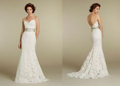 Elegant Fit and Flare Sweetheart Brush Train Lace Wedding Dress With Ribbon