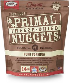 Primal Pork Formula Nuggets Freeze-dried Dog Food offers the convenience and benefits of a well-balanced, safe and wholesome raw-food diet without having to grind, chop, measure or mix it yourself. Only the freshest, human-grade ingredients are used, including real pork that's free of antibiotics, steroids and added hormones. Certified organic produce, certified organic minerals and unrefined vitamins are also incorporated to fortify this complete and balanced diet. The combination offers…