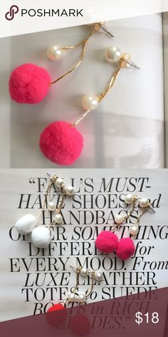 Pearl/Pink Pom Pom Drop Earrings Faux pearl earrings with a pink pompom accent. About 2 inches length. Post backs. Available in white and red. Price is for each pair of earrings. See individual listing in my closet. No tags. Never worn. Brand new. Boutique Jewelry Earrings