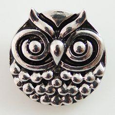 1 PC 18MM Owl Animal Chunk Pop Charm Zinc Silver Snap Popper Fits Bracelet Interchangeable KB8630 CC0391 Diameter Size: 18MM Material: Zinc Alloy