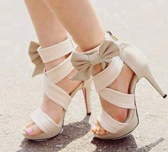 Champagne strappy heel.