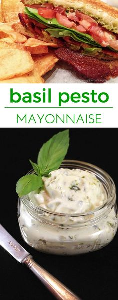 Basil Pesto Mayonnaise: a treat on deli or BLT sandwiches. Quick 2 ingredients, then slather it on for a delicious taste of summer no matter the season!