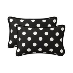 2-Piece Outdoor Toss Pillow Set - Black/White Polka Dot 18""
