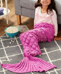 Look what I found on #zulily! Bright Pink & Light Pink Scaled Mermaid Tail Blanket - Kids #zulilyfinds