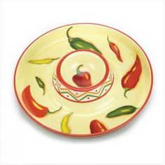 Red Hot Chili Pepper Chip & Dip Platter Kitchen Decor by golddustwoman