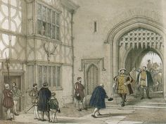 Nineteenth century drawing depicting Henry VIII arriving at Hever Castle. Anne Boleyn is shown opening the window to look out into the court yard at the top.