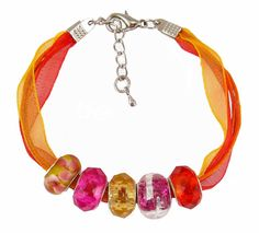 Organza and Cotton Cord Bracelet with Bead Charms - Fuchsia and Orange (B390)