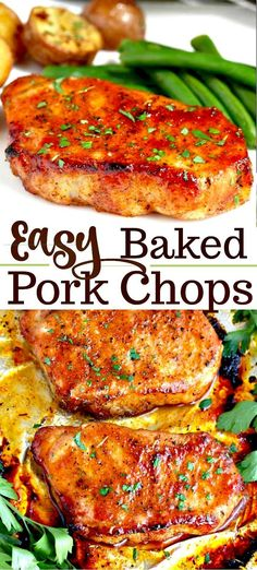 pork chop recipes These Oven Baked Pork Chops are easy to make, have only a few ingredients and are baked to perfection! This baked pork chop recipe produces succulent, tender, juicy and flavorful pork chops every time! Oven Pork Chops, Easy Baked Pork Chops, Marinated Baked Pork Chops, Marinade For Pork Chops, Easy Crockpot Pork Chops, Healthy Pork Chops, Pork Chops And Rice, Cooking Pork Chops, Pork Ribs