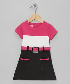 Another great find on #zulily! Pink Color Block Belted Cap-Sleeve Dress - Girls #zulilyfinds