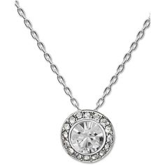 Swarovski Necklace, Silver-Tone Crystal Circle Pendant (€91) ❤ liked on Polyvore featuring jewelry, necklaces, no color, silvertone necklace, silver tone necklace, glitter jewelry, sparkle jewelry e round pendant necklace