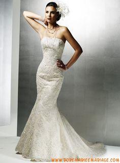 Robe sirène évasée couleur ivoire broderie perles corsage satin organdie dentelle robe de mariée