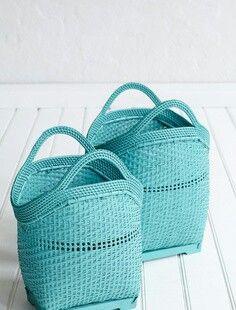 Turquoise manden, boodschappen, opbergen of decoratie! ~ Caro
