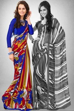 Traditional Printed Party Saree; Carnelian Red and Blue Faux Georgette Printed Casual and Party Saree $28