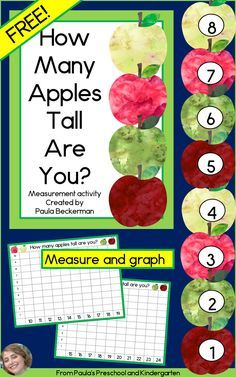 What a fun, apple themed activity for kids! They measure themselves on the apple chart, then graph the results - and it's FREE! Preschool Apple Theme, Fall Preschool, Preschool Themes, Preschool Lessons, Kindergarten Activities, Classroom Activities, Preschool Activities, Kindergarten Apples, Preschool Apples