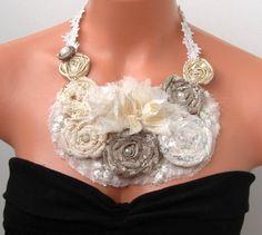 Cream and ecru  floral statement  bib necklace wedding  by seragun, $50.00