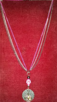 Pink, Silver and Gunmetal multi strand chain, Pink skull w/Inspiration gunmetal crystal embellished pendant necklace