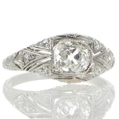 An original Art Deco 1.06ct diamond and platinum engagement ring. www.rutherford.com.au