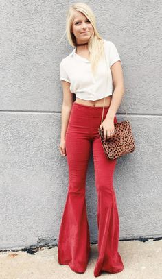 crop top and bell bottoms <3 perfect gameday outfit
