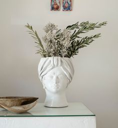 Designed by Sicilian artist Giacomo Alessi, these ceramic head vases are handmade in Italy. Basil Plant, Homewares Online, Stylish Home Decor, Alessi, Moorish, Unique Furniture, Growing Plants, White Women, Flower Vases