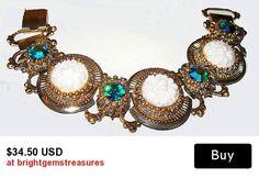 "Art Deco Bracelet Teal Blue Rhinestones White Art Glass Floral Panels Book Link Style Gold Metal 7"" Vintage"