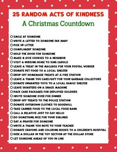 Keep the true meaning of Christmas with this printable list of 25 Random Acts of Kindness Christmas Countdown. True Meaning Of Christmas, 25 Days Of Christmas, Christmas Countdown, Family Christmas, Christmas List Ideas, Christmas Charts, Merry Christmas, Advent Calendars For Kids, Kids Calendar