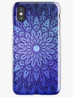 Dark Mandala in Blue Phone Case by Kelly Dietrich