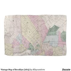 Vintage Map of Brooklyn (1873) Kitchen Towels