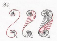 nice zentangle pattern for spiral, (website in german) but step by step drawings given...