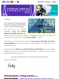 Blogging addiction & free branding templates - Vetanswers Veterinary Community Connection eNews 3.3.2017