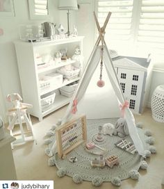 Another beautiful shot of this nursery. I love this colour scheme - so soft and pretty! Playroom Design, Baby Room Design, Baby Bedroom, Girls Bedroom, White Bedroom, Nursery Room Decor, Little Girl Rooms, Kid Beds, Kids And Parenting