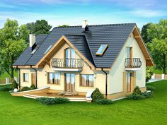 This four bedroom classic house design is an interesting proposition for people with medium-wide plot. The house has a typical shape, which greatly facilitates the construction process. My House Plans, Country House Plans, Small House Plans, Roof Design, Exterior Design, Style At Home, New Model House, Classic House Design, Slanted Walls