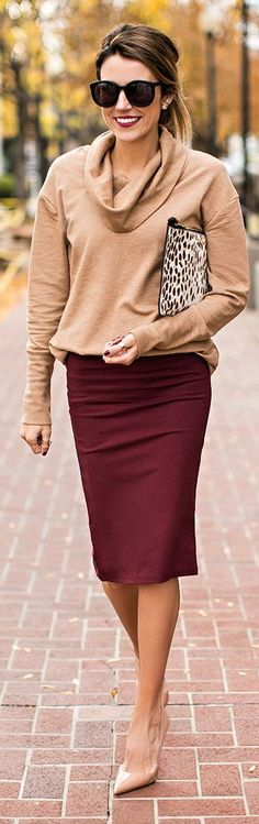 CLASSIC[winter]: burgundy pencil skirt; beige sweater; animal print clutch; beige shoes