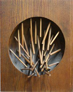 "Pol Bury [Belgium] (1922 - 2005) ~ ""Untitled"". Kinetic wood sculpture with electric motor, suspended wood sticks (61 x 46 x 18 cm). | #art #sculpture #conceptual_art"