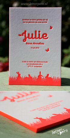 letterpers_letterpress_geboortekaartje_Julie_roze_Fluor_neon_konijntjes