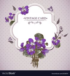 Vintage Floral Card with Violets and Butterflies Vector Design element. Download a Free Preview or High Quality Adobe Illustrator Ai, EPS, PDF and High Resolution JPEG versions.