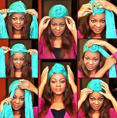 Hair Tag : How To Tie A Turban In Less Than 2 Minutes. - Glam O' Sphere .a turban is one of the latest fashion trends.how elegant it looks,it also helps during those bad hair days while adding a stylish touch.The turban Tie A Turban, Turban Style, Turban Headbands, Curly Hair Styles, Natural Hair Styles, Head Scarf Styles, Scarf Head, Pelo Afro, African Head Wraps
