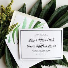 Modern foliage wedding invitations.