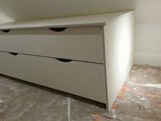 Contemporary drawer units in loft conversion in Shenfield, Essex. Finish is lime effect birch ply with hardwax oil on top. Three units, all approx long Boot Room Utility, Birch Ply, Drawer Unit, West London, Conservatory, Carpenter, Filing Cabinet, Bespoke