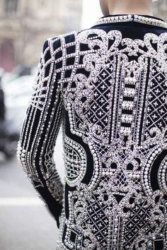 Balmain black gown w/ intricate white details