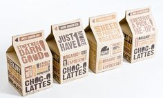 Carton Packaging by natalia bungert, via Behance.  bold sans-serif typography in brown and orange on brown paper