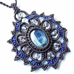Macrame Necklace Pendant Kyanite Stone Quartz Waxed Cord Handmade Cabochon #Handmade #Pendant