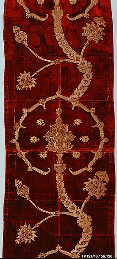 Length of velvet Date: 16th century Culture: Spanish or Italian Medium: Pile on pile cut, voided, and brocaded velvet of silk and gold metallic thread with bouclé details Dimensions: L. 87 x W. 22 1/2 inches (221.0 x 57.2 cm)
