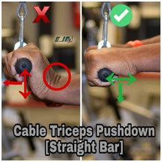 Cable Triceps Push Down Proper grip . Cable Triceps Push Down Proper grip . Gym Tips, Gym Workout Tips, Biceps Workout, Cardio Workouts, Men's Health Fitness, Muscle Fitness, Men Health, Workout Fitness, Fitness Diet