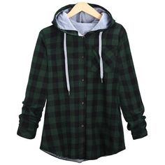 Long Sleeve Plaid Single-Breasted Hoodie (£16) ❤ liked on Polyvore featuring tops, hoodies, sweaters, shirts, hooded pullover, shirt hoodies, long sleeve hoodie shirt, hooded sweatshirt and longsleeve shirt
