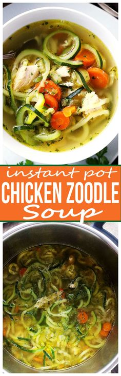 Instant Pot Chicken Zoodle Soup - Only 20 minutes to this amazing, healthy bowl . Instant Pot Chicken Zoodle Soup - Only 20 minutes to this amazing, healthy bowl of Chicken Zoodle Soup prepared in a pressure cooker! Chicken Zoodle Soup, Chicken Soup Recipes, Chicken Soups, Chicken Alfredo, Noodle Recipes, Instant Pot Pressure Cooker, Pressure Cooker Recipes, Pressure Cooking, Healthy Drinks