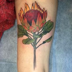Giant King Protea by @kittydearest . At the Black Mark in Melbourne Australia. @theblackmarktattoo #tattoosnob #tattoo #kittydearest #giantkingprotea #botanicaltattoo