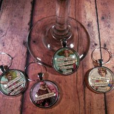 """""""Everybody Love a Wine'r"""" Wine Glass Charms - Set of 4"""