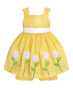 Loving this Yellow & White Polka Dot Rosette Dress & Bloomers - Infant on #zulily! #zulilyfinds