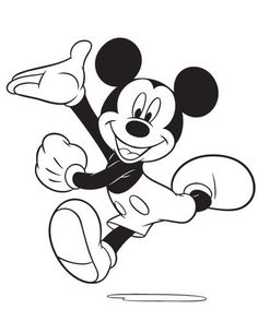 Excited Mickey Mouse Running Coloring